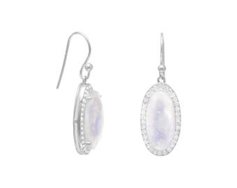 Oblong Rainbow Moonstone Earrings with CZ Edge