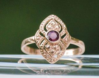 Garnet Gold Ring, Handmade Ring, January Birthstone, Garnet Jewelry, Dainty Ring, Rose Gold Ring, Birthstone Ring