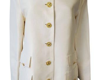 VINTAGE Cream Silk Blazer With Gold Engraved Buttons