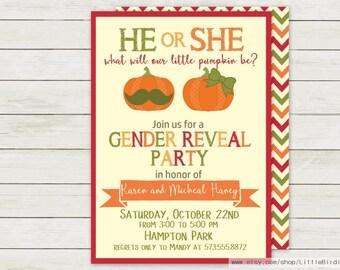Little Pumpkin Gender Reveal | Gender Reveal Invitation | Pumpkin Invitation | Printable Invitation | Pumpkin Baby Shower Invitation