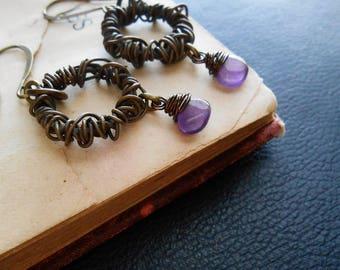 dizzy- wire wrapped hoops austere neotribal tribal pagan earrings nugoth earrings dangle earrings purple earrings wiccan amethyst earrings