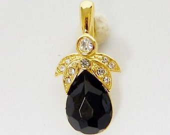 Vintage Gold Tone Black Stone Enhancer with Zircon Stones Pendant