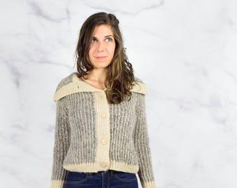 1950s Italian Knit Shawl Collar Cardigan Size Medium