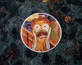 The Scream Patch / Set Of 2 Patches - Embroidered - Sew On - Jacket Patches, Psychedelic Patches, Rick and Morty Patch, Art Patch | Handmade