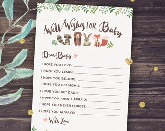 Woodland Animals Baby Shower Games Printable, Well Wishes for Baby, Forest Animals and Greenery, Bear, Fox, Instant Download