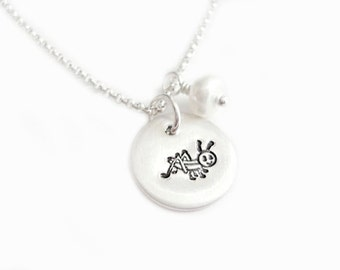 This Little Grasshopper - Handstamped Jewelry Necklace - Sterling Silver Disc Pendant