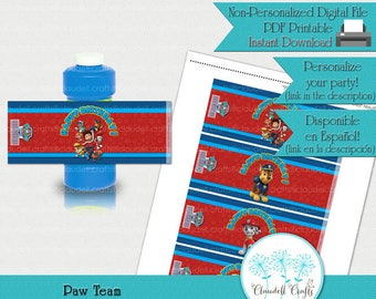 Paw Team Boy Inspired Printable Bubble Bottle Wrapper