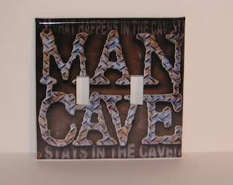 Man Cave Double Switch plate Cover Double Toggle Garage