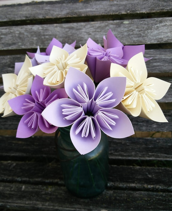 One Dozen Paper Flowers. CHOOSE YOUR COLORS. Anniversary, Centerpiece, Birthday.