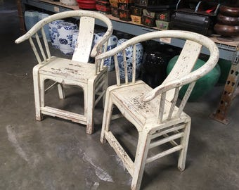 FREE SHIPPING Pair of Chinese Armchairs in Distressed Cream Finish (Los Angeles)
