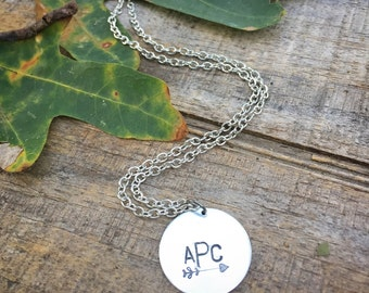 Custom monogram necklace, arrow monogram necklace, initial necklace