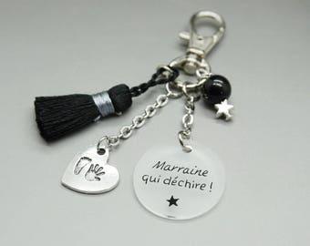 """porte clé pompon noir cabochon """"Marraine qui déchire"""" coeur personnalisable"""