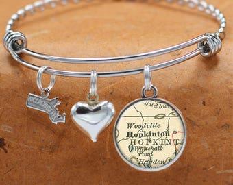 Map Bracelet Hopkington Massachusetts State of MA Bangle Cuff Bracelet Vintage Map Jewelry Stainless Steel Bracelets Map Gifts