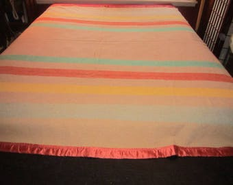 Vintage Beautiful 4 Point Wool Camp Striped Blanket