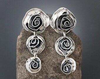 Sterling Silver Rose Earrings - Silver Earrings - Large Earrings - Flower Earrings - Statement Earrings - Long Stud Earrings - Post Earrings