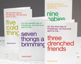 Funny christmas card for friends 12 days of christmas funny christmas card pack wordplay christmas card pack alternative christmas cards funny 12 m4hsunfo