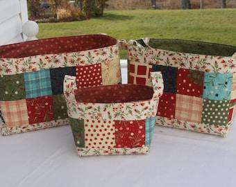 Set of 3 Christmas Gift Bins with Handles