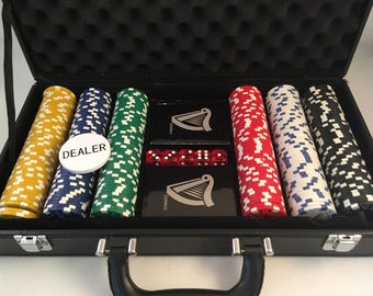 Guinness Complete Set of Authentic Poker Chips, Cards, Dice and Dealer Disk, Holds Everything in a Handy Storage Case, Poker Game Set
