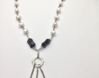 necklace; onyx crystal and pearl with circle trio pendant