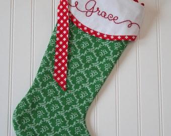 Personalized Christmas Stocking, Farmhouse Christmas Stockings, Family Christmas Stocking, Hand Embroidered Monogrammed