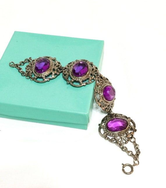 Chunky Purple Silver Bracelet, Foliate Open Work, Translucent Lucite Cabs, Victorian Revival, 1950s Vintage Fashion Jewelry