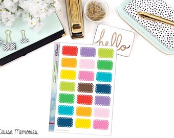 FUNCTIONAL SCALLOPED BOX Paper Planner Stickers - Mini Binder Sized/3 Hole Punched