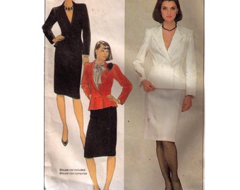 McCall's 8494, 80s sewing pattern, size 12 women's loose fitting jacket, fit and flare, double breasted blazer, straight skirt