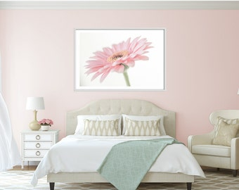 Flower Art, Extra large wall art - Romantic Gift for her - Peach Daisy Extra large art print - oversized flower print - very large art -