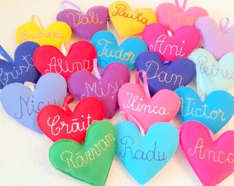Custom ornament heart, Valentine day decoration, Valentine day ornament, felt heart, name sign, personalized ornament, embroidery name