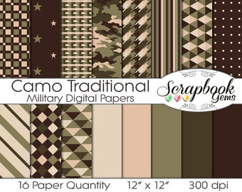 """Camouflage Traditional Military Digital Papers, 16 Pieces, 12"""" x 12"""", High Quality JPEG files, Instant Download Commercial Scrapbook hunting"""