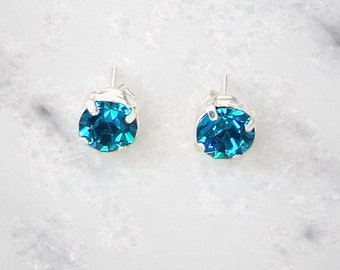 Sparkly 7mm Teal Blue Zircon Sterling Silver Stud Earrings Made With SWAROVSKI ELEMENTS jroZn