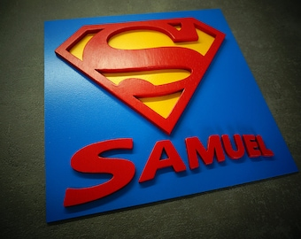 Customized Superhero Superman with mame, wooden wall art, children's bedroom