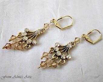 Topaz Crystal Drops, Downton Abbey Earrings, Crystal Jewelry, Victorian Style Earrings, Light Topaz Crystal Earrings, Rhinestone Earrings