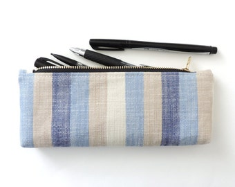 Blue Stripe Pencil Case Zipper Pencil Pouch