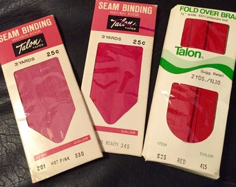3 Vintage Seam Binding Bias Tape Red American Beauty and Hot Pink Still in Original Packages