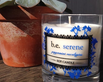 Peppermint Eucalyptus, Vegan Soy Candle, Handmade Boutique Candle