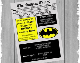 Gotham Times Birthday Invitation