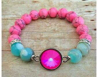 Swarovksi Crystal Bracelet, Hot Pink Crystal, Beaded Bracelets, Gemstone Bracelet, Statement, Stretch Bracelet, Pink, Mermaid
