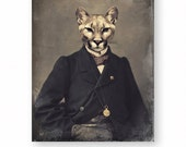 """Cat Art Print Animal Art Wildlife Cougar Mountain Lion Animals In Clothes Woodland Anthropomorphic (3 Sizes Available) """"Chadwick"""""""