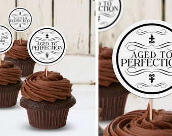Aged to Perfection White - Birthday Party Instant Download - EDITABLE PDF, DIY Cupcake Toppers, Favor Tags, Party Stickers, Printable Labels