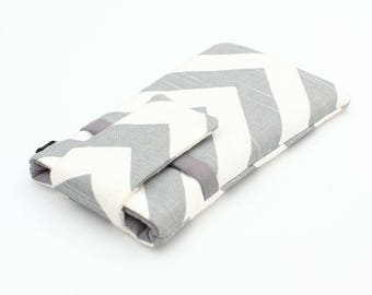 Sony Xperia Z5 Wallet, BlackBerry Priv Sleeve, Handmade Cell Phone Cases, Samsung Note 5 Cover, Padded HTC M8 Case - grey white chevron
