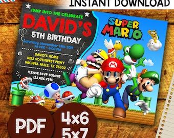 Super Mario Invitation, Super Mario Party, Super Mario Birthday, Super Mario, Editable PDF Template, Instant Download, Editable Invitation,