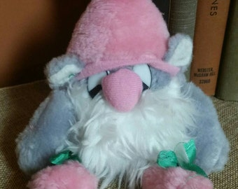 Whimsical Garden Gnome Plush Toy/8 Inch Plush Toy/Dan Brechner/Collectible Plush Toy/Pink and Gray Gnome/Nursery Decor/Vintage 1980s