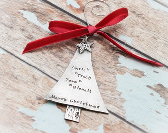 Christmas Tree Personalized Hand Stamped Christmas Ornament in Pewter-