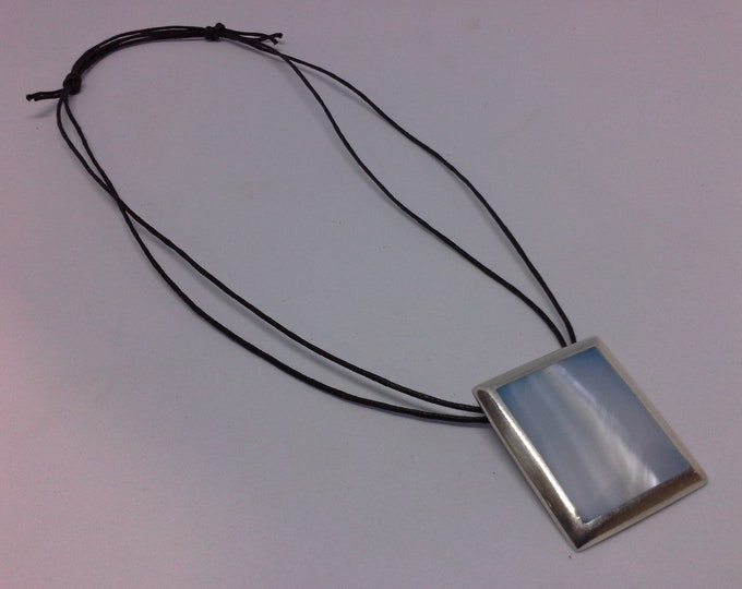 Sterling Silver Modernist Square Pendant with Pale Blue Shell Inlay on Cord Necklace Vintage 925