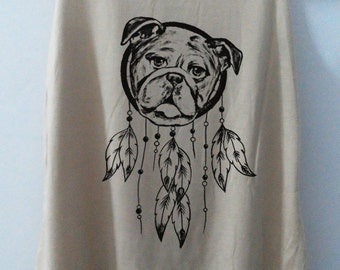 Dog Dream Catcher Shirt Tshirt Animal Shirt tshirt Women Shirt pug Tank Top Women Bulldog T-Shirt Tunic Top Vest Size S,M,L