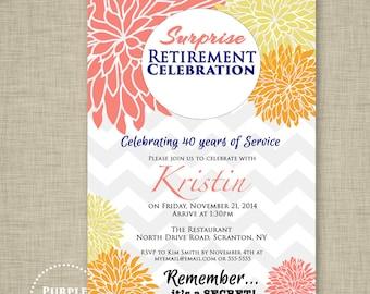 Surprise Retirement Party Celebration Invitation Coral Orange Yellow Chevron High Tea Fall Floral Invitation Printable Invite 5x7