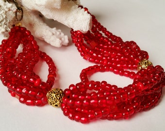 Ruby Red and Gold Seed Bead Multi Strand Necklace, Chunky Necklace
