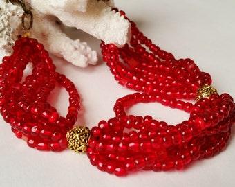 Rubinrot und Gold Seed Bead Multi-strängige Halskette, klobige Halskette