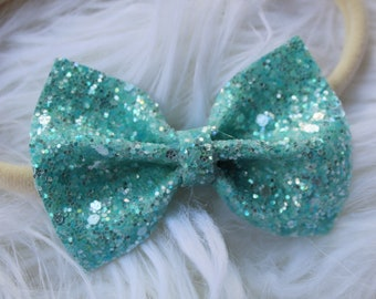 Turquoise Glitter Bow